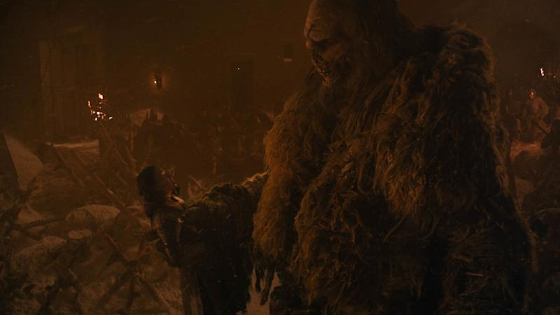 Lyanna Mormont lives just long enough to send wight giant Crum to his second death (Photo: Courtesy of HBO)