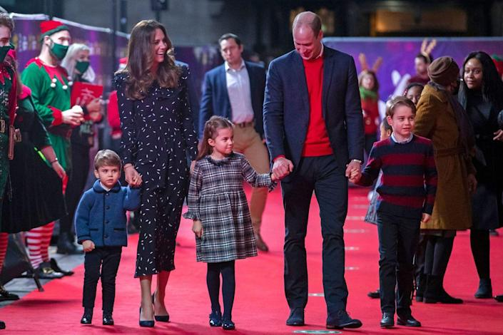 """<p><a href=""""https://www.townandcountrymag.com/society/tradition/a34945223/prince-george-princess-charlotte-louis-london-palladium-appearance/"""" rel=""""nofollow noopener"""" target=""""_blank"""" data-ylk=""""slk:Prince George made a surprise appearance"""" class=""""link rapid-noclick-resp"""">Prince George made a surprise appearance</a> along with the rest of his family at the London Palladium, to see a special performance of a pantomime.</p>"""
