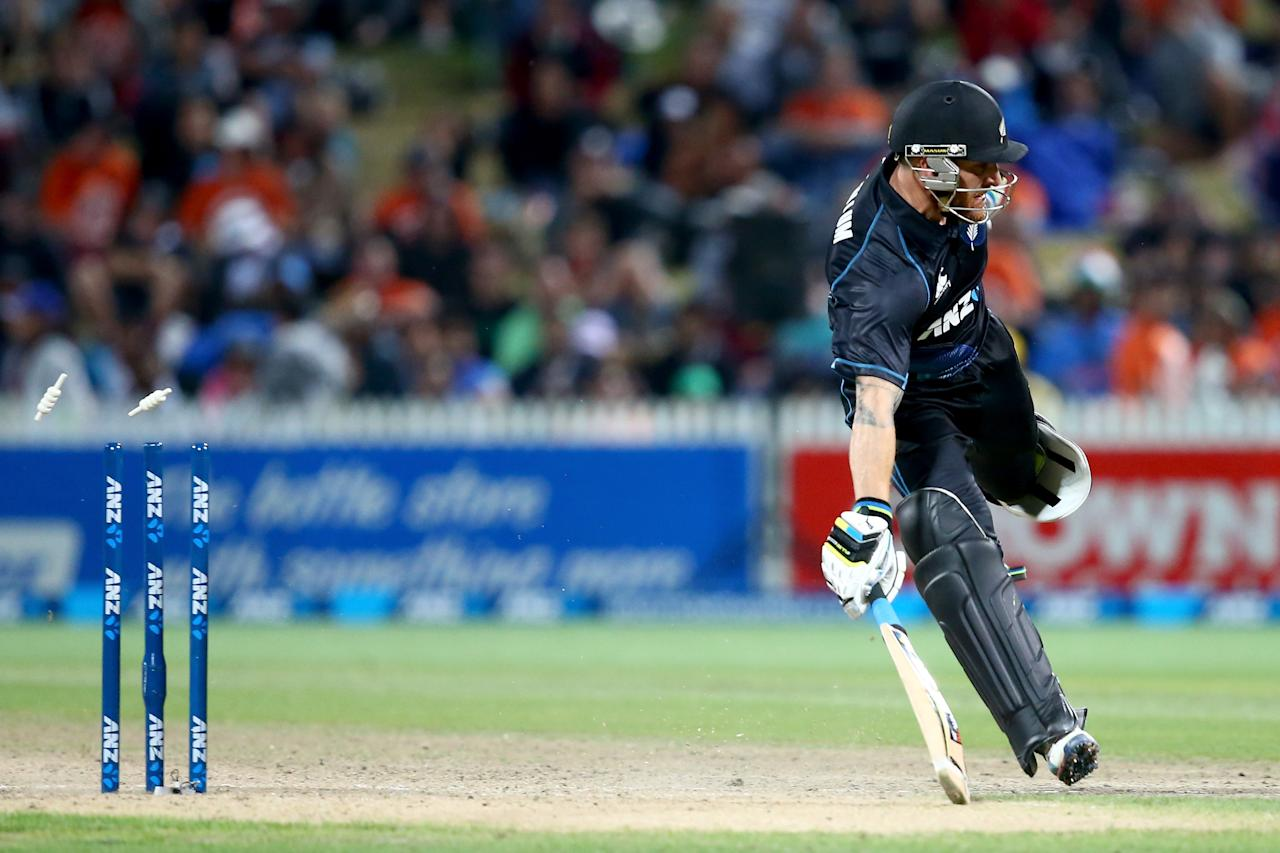 HAMILTON, NEW ZEALAND - JANUARY 28:  Brendon McCullum of New Zealand runs in to make his crease during game four of the men's one day international series between New Zealand and India at Seddon Park on January 28, 2014 in Hamilton, New Zealand.  (Photo by Phil Walter/Getty Images)