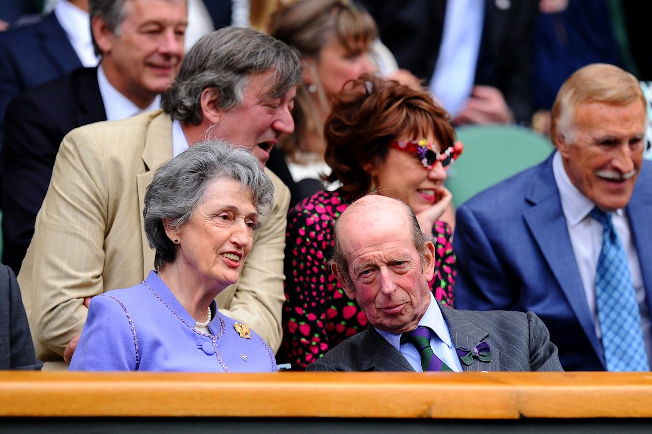 LONDON, ENGLAND - JUNE 26: Prince Edward, Duke of Kent and Lady Susan Hussey attend the Ladies' Singles second round match between Eugenie Bouchard of Canada and Ana Ivanovic of Serbia on day three of the Wimbledon Lawn Tennis Championships at the All England Lawn Tennis and Croquet Club on June 26, 2013 in London, England. (Photo by Mike Hewitt/Getty Images)