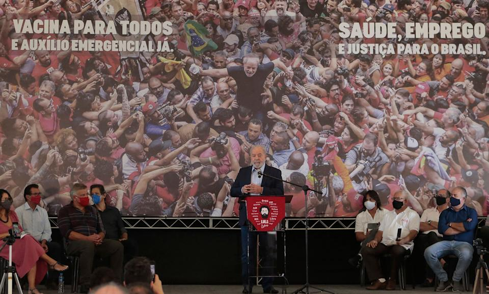 Brazilian former president (2003-2011) Luiz Inacio Lula da Silva, delivers a press conference at the metalworkers' union building in Sao Bernardo do Campo, in metropolitan Sao Paulo, Brazil, on March 10, 2021. - The ruling that overturned ex-president Luiz Inacio Lula da Silva's corruption convictions upended Brazilian politics and set up a potential election showdown between the tarnished left-wing icon and his nemesis, far-right President Jair Bolsonaro. (Photo by Miguel SCHINCARIOL / AFP) (Photo by MIGUEL SCHINCARIOL/AFP via Getty Images)