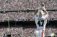 Auburn tight end John Samuel Shenker (47) catches a pass in the end zone for a touchdown against Texas A&M during the first half of an NCAA college football game, Saturday, Sept. 21, 2019, in College Station, Texas. (AP Photo/Sam Craft)