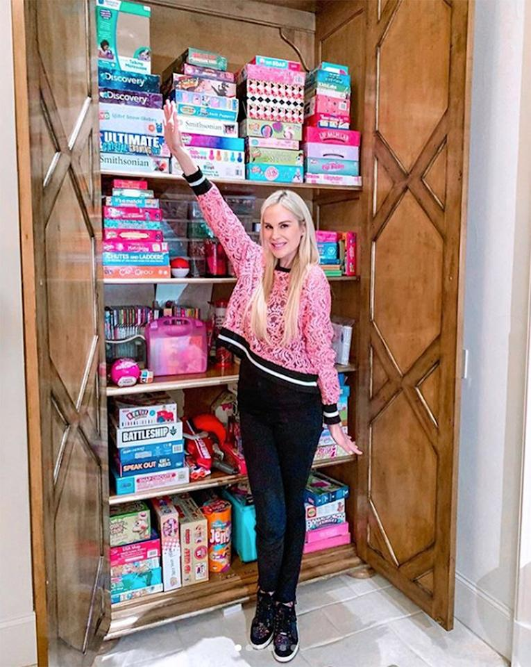 """Time for a play date! This <em>Real Housewives of Dallas</em> star got a <a href=""""https://www.instagram.com/p/B7WHieOAc8t/"""">major upgrade</a> to her Highland Park home when she let the organizers at <a href=""""https://beeorganized.com/"""">Bee Organized</a> come in and overhaul her kids' playroom and game cabinet. """"I never have time for stuff like this and I've been dying to get this room organized!! 😍 So excited!!"""" she wrote."""
