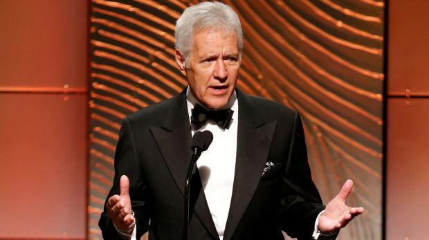 Jeopardy television game show host Trebek speaks on stage during the 40th annual Daytime Emmy Awards in Beverly Hills