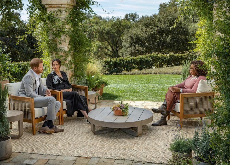 This image provided by Harpo Productions shows Prince Harry, from left, and Meghan, The Duchess of Sussex, in conversation with Oprah Winfrey (AP)