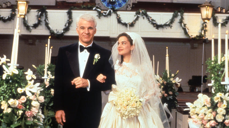 Steve Martin walking down the aisle with Kimberly Williams-Paisley in a scene from the film 'Father Of The Bride'. (Photo by Touchstone/Getty Images)
