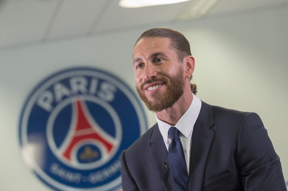 BOULOGNE-BILLANCOURT, FRANCE - JULY 08: Sergio Ramos sign a 2 year contract with Paris Saint-Germain on July 08, 2021 in Boulogne-Billancourt, France. (Photo by Paris Saint-Germain Football/PSG via Getty Images)