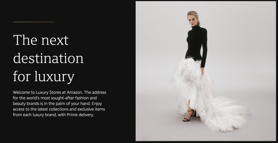 Amazon is launching a new luxury shopping destination called Amazon Luxury where customers can browse and purchase high-end fashion brands including Oscar de la Renta. (Image: Amazon)