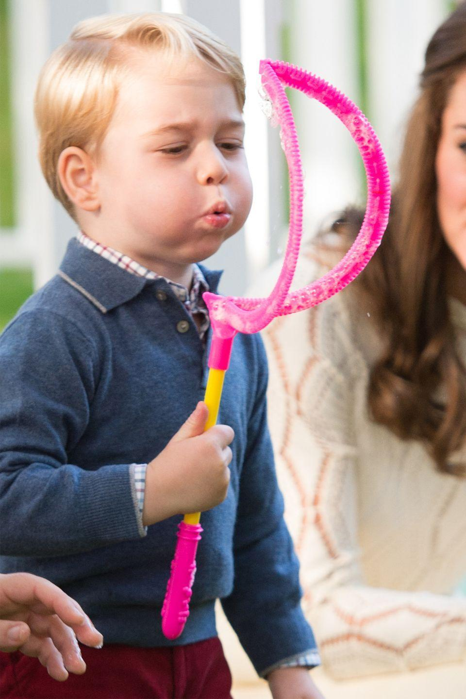 <p>The Duchess of Cambridge and Prince George attend a children's party for Military families during the Royal Tour of Canada.</p>