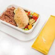 Chicken or beef? This is the chicken dinner that economy passengers will receive (Qantas)