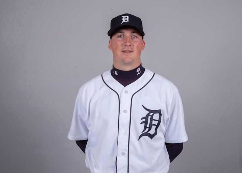 Detroit Tigers pitcher Kyle Funkhouser poses for a headshot on media day at Joker Marchant Stadium.