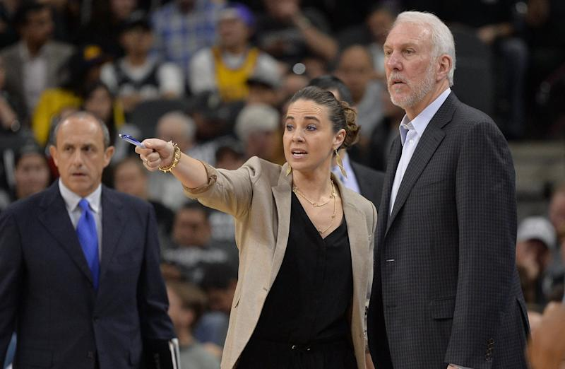 Becky Hammon and Gregg Popovich