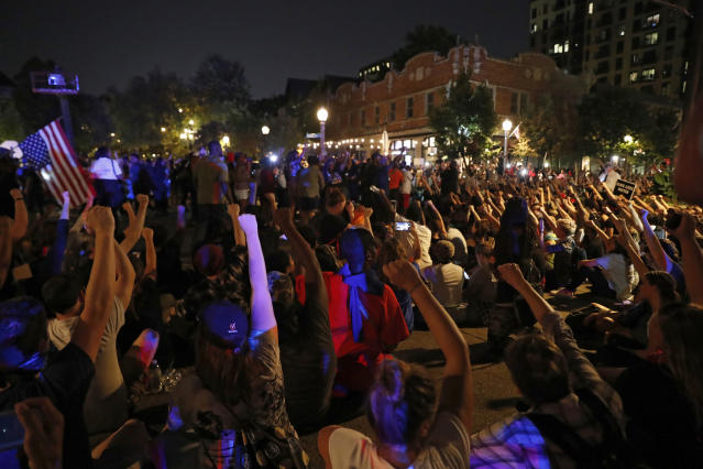 <p>Protesters gather, Friday, Sept. 15, 2017, in St. Louis, after a judge found a white former St. Louis police officer, Jason Stockley, not guilty of first-degree murder in the death of a black man, Anthony Lamar Smith, who was fatally shot following a high-speed chase in 2011. (Photo: Jeff Roberson/AP) </p>