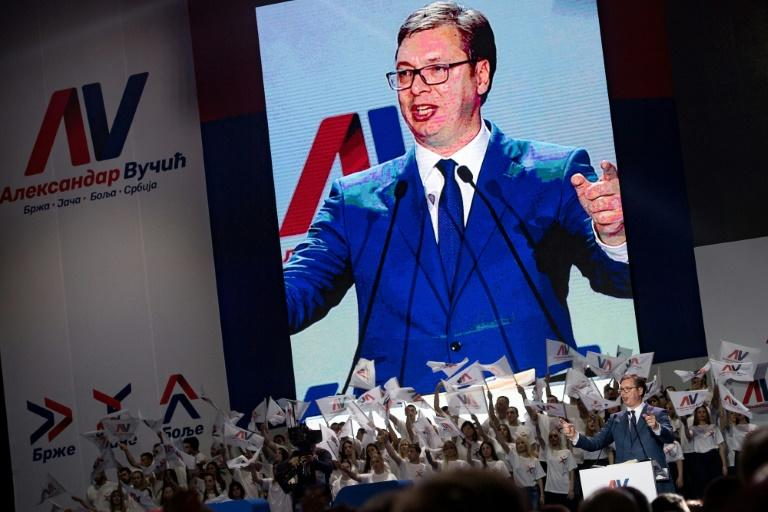 Aleksandar Vucic, speaking here during a pre-election rally of his Serbian Progressive Party, hopes to win a five-year term as president outright