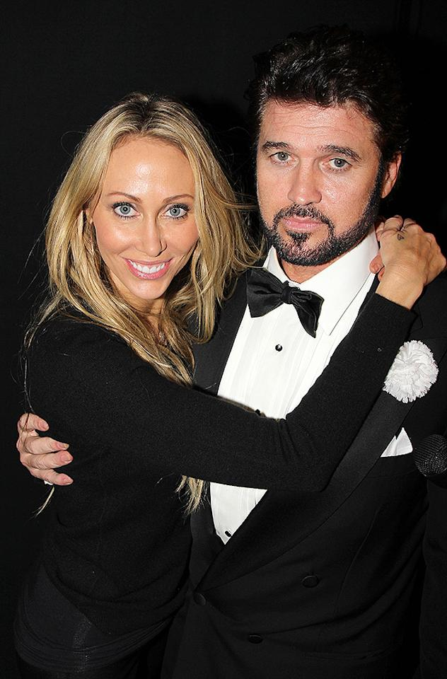 "NEW YORK, NY - NOVEMBER 18:  (EXCLUSIVE COVERAGE) Tish Cyrus and Billy Ray Cyrus pose backstage at the hit musical ""Chicago"" on Broadway at The Ambassador Theater on November 18, 2012 in New York City.  (Photo by Bruce Glikas/FilmMagic)"