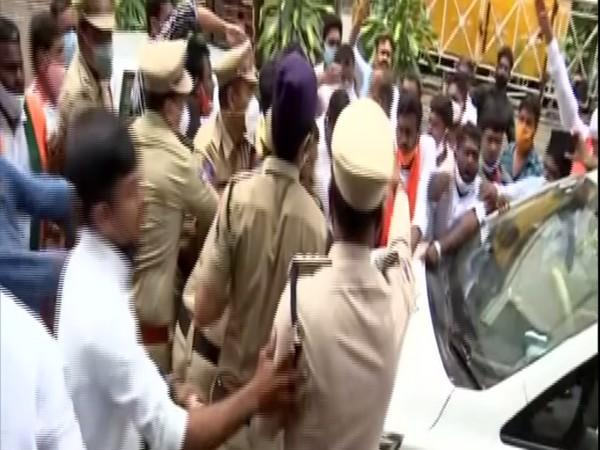 Several party leaders and workers were arrested on Friday, following their march to the state Assembly demanding the official announcement of Telangana Liberation Day in hyderabad. (Photo: ANI)