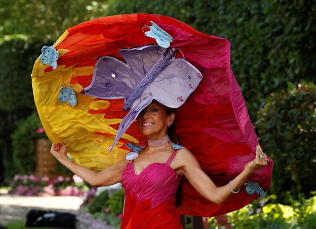 Horse Racing - Royal Ascot - Ascot Racecourse, Ascot, Britain - June 21, 2018 A racegoer poses before the start of the racing Action Images via Reuters/Andrew Boyers