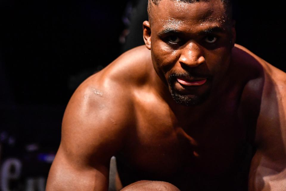 JACKSONVILLE, FL - MAY 09: Francis Ngannou of Cameroon looks on after defeating Jair Rozenstruik (not pictured) of Suriname in their Heavyweight fight during UFC 249 at VyStar Veterans Memorial Arena on May 9, 2020 in Jacksonville, Florida. (Photo by Douglas P. DeFelice/Getty Images)