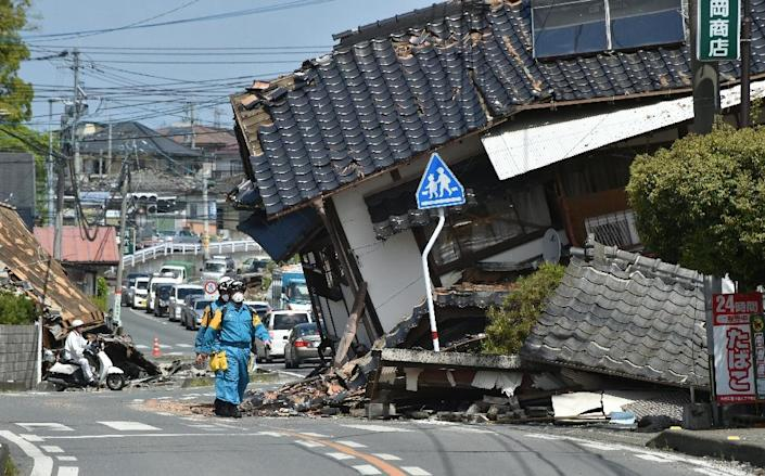 Tens of thousands have been forced to abandon their damaged or destroyed homes following twin earthquakes in southern Japan (AFP Photo/Kazuhiro Nogi )