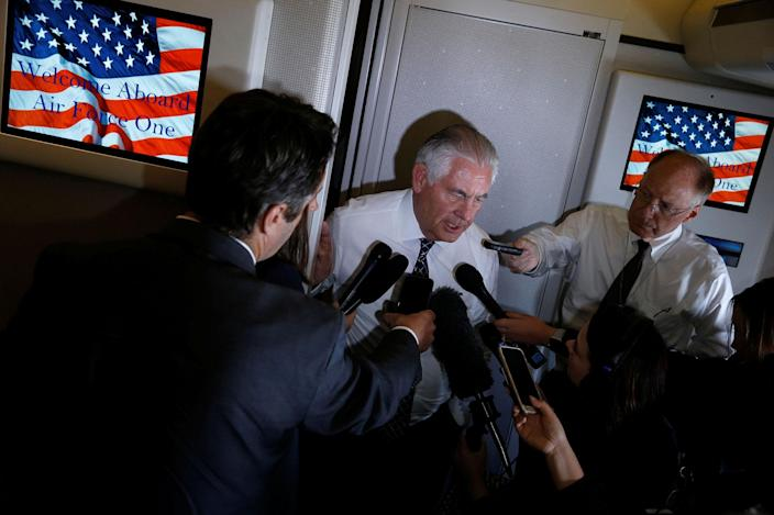 <p>Secretary of State Rex Tillerson speaks to reporters en route with President Donald Trump to a NATO summit in Brussels aboard Air Force One on May 24, 2017. (Photo: Jonathan Ernst/Reuters) </p>