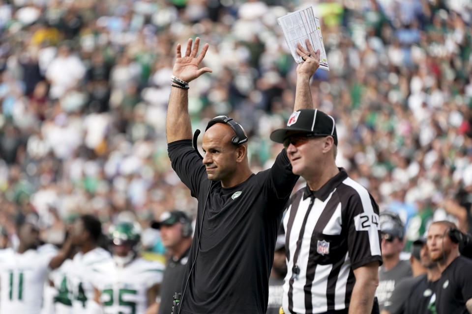 New York Jets head coach Robert Saleh reacts on the sidelines during overtime of an NFL football game against the Tennessee Titans, Sunday, Oct. 3, 2021, in East Rutherford, N.J. (AP Photo/Seth Wenig)