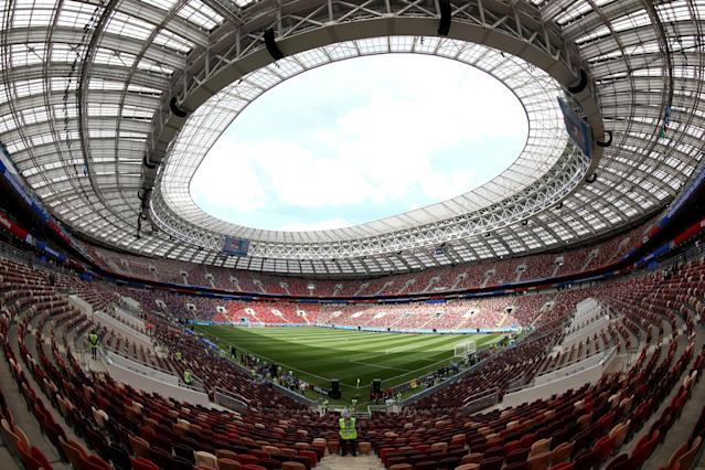 <p>Ready and waiting: The Luzhniki Stadium in Moscow will host the opening game of the tournament. (PA) </p>