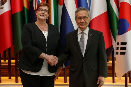 Australia's Foreign Minister Marise Payne shakes hand with her Thai counterpart Don Pramudwinai at the Ministry of Foreign Affairs in Bangkok, Thailand, January 10, 2019. REUTERS/Athit Perawongmetha