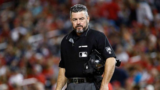 PHOTO: Umpire Rob Drake stands on the field during a baseball game between the Atlanta Braves and the Washington Nationals in Washington,Sept. 13, 2019. (Patrick Semansky/AP, FILE )