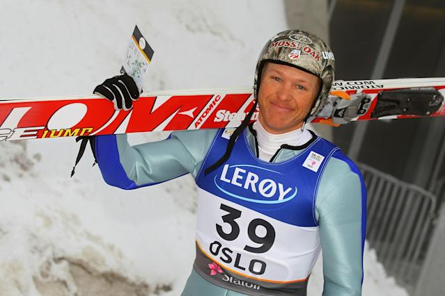 OSLO, NORWAY - MARCH 02: Todd Lodwick of USA rides the chairlift prior to competing in the Nordic Combined HS134 Ski Jump competition during the FIS Nordic World Ski Championships at Holmenkollen on March 2, 2011 in Oslo, Norway. (Photo by Christof Koepsel/Bongarts/Getty Images)