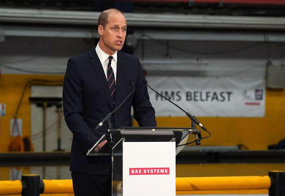 <p>Prince William gives a speech at the steel cutting ceremony for HMS Belfast. </p>