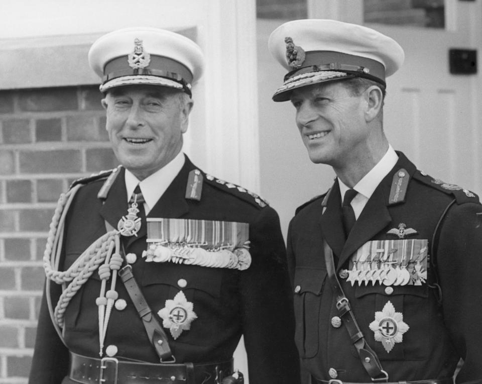 Lord Mountbatten and Prince Philip pictured in Royal Marines uniforms