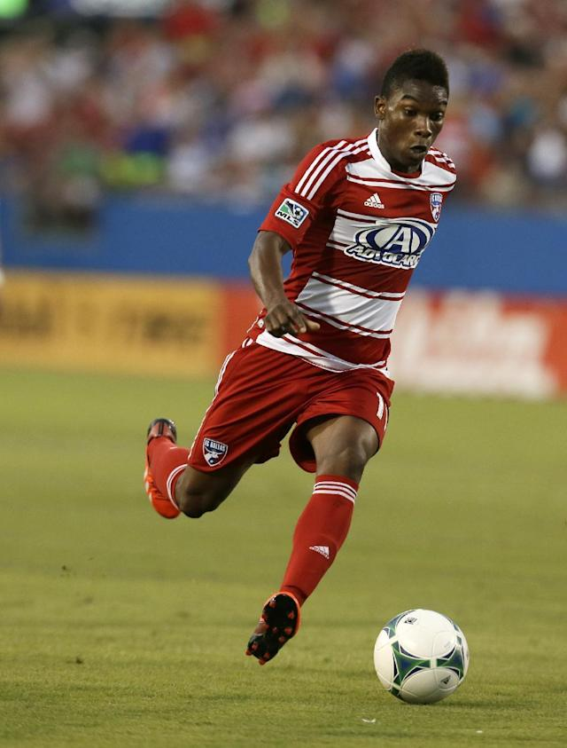 FC Dallas's Fabian Castillo moves the ball up field against Real Salt Lake during an MLS soccer game, Saturday, July 13, 2013, in Frisco, Texas. Real Salt Lake won 3-0. (AP Photo/Tony Gutierrez)