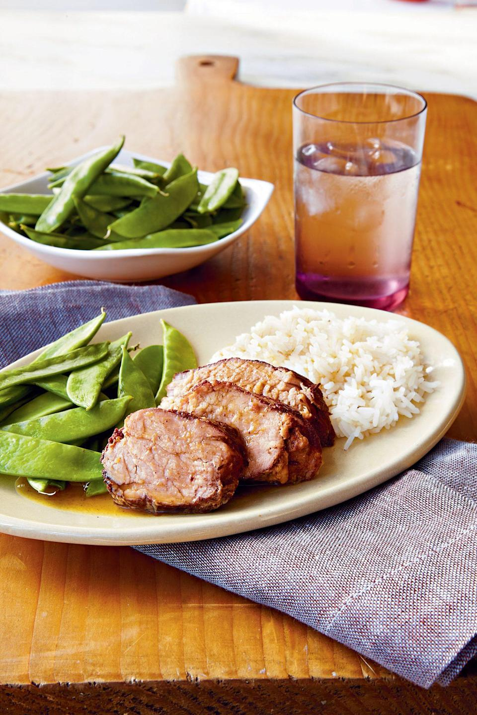 """<p><strong>Recipe: </strong><a href=""""https://www.southernliving.com/syndication/plum-pork-tenderloin"""" rel=""""nofollow noopener"""" target=""""_blank"""" data-ylk=""""slk:Plum Pork Tenderloin"""" class=""""link rapid-noclick-resp""""><strong>Plum Pork Tenderloin</strong></a></p> <p>It would be a tragedy if even a drop of the plum sauce went to waste. We recommend serving with jasmine rice to soak it all up. </p>"""
