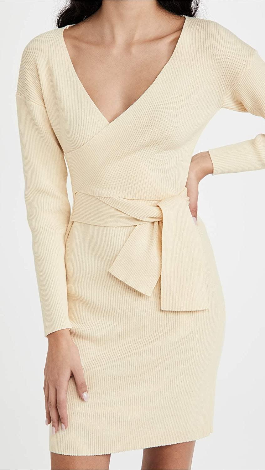 <p>You'll never tire of rocking this cozy <span>Line &amp; Dot Emma Wrap Sweater Dress</span> ($45).</p>