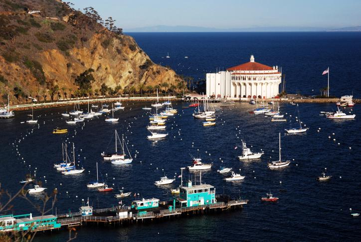 Part of the magic of the Santa Catalina Island is that it's only 22 miles south of Los Angeles but feels a world apart. The rocky site is home to coral reefs and shipwrecks, which can be explored by glass-bottomed boat. The 22-mile-long island is also great for diving, camping, and hiking.
