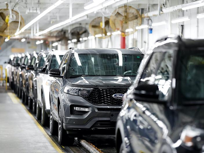 "Ford vehicles lined up in a factory. <p class=""copyright"">REUTERS/Kamil Krzaczynski</p>"