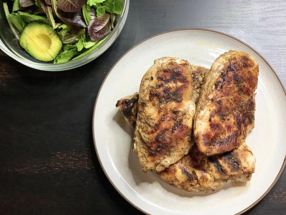 Jerk chicken: I grilled up several chicken breasts with homemade jerk sauce, cut them up and freeze them in individual portions for serving with salads and roasted vegetables. (Courtesy of the author)