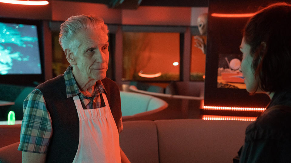 David Cronenberg and Tuppence Middleton in 'Disappearance at Clifton Hill'. (Credit: Lightbulb Film Distribution)