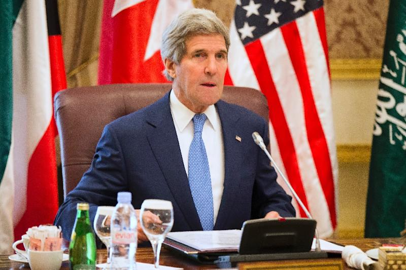 US Secretary of State John Kerry attends a meeting of Gulf foreign ministers at Riyadh Air Base, on March 5, 2015 in the Saudi capital
