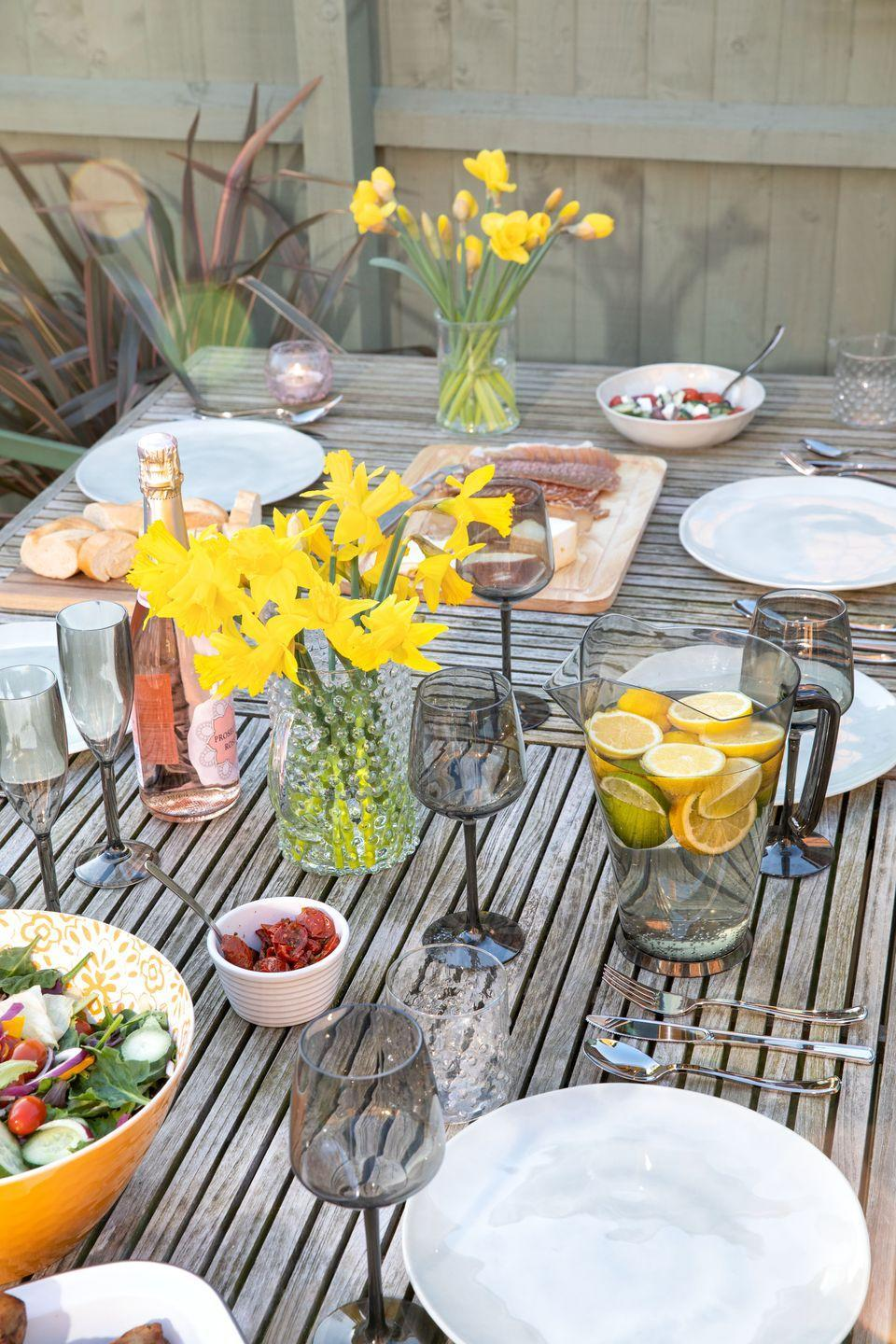 """<p>Get geared up for summer by updating your <a href=""""https://www.housebeautiful.com/uk/garden/g32181157/bistro-set/"""" rel=""""nofollow noopener"""" target=""""_blank"""" data-ylk=""""slk:dining"""" class=""""link rapid-noclick-resp"""">dining</a> essentials. From plates to serving bowls and platters, the bargain retailer has all you need for a garden feast. </p><p>'With temperatures already balmy for the time of year and hopes of a long, hot summer, there's no better way to celebrate than alfresco,' say Poundland. </p><p><a class=""""link rapid-noclick-resp"""" href=""""https://www.poundland.co.uk/store-finder/"""" rel=""""nofollow noopener"""" target=""""_blank"""" data-ylk=""""slk:FIND NEAREST STORE"""">FIND NEAREST STORE</a></p>"""