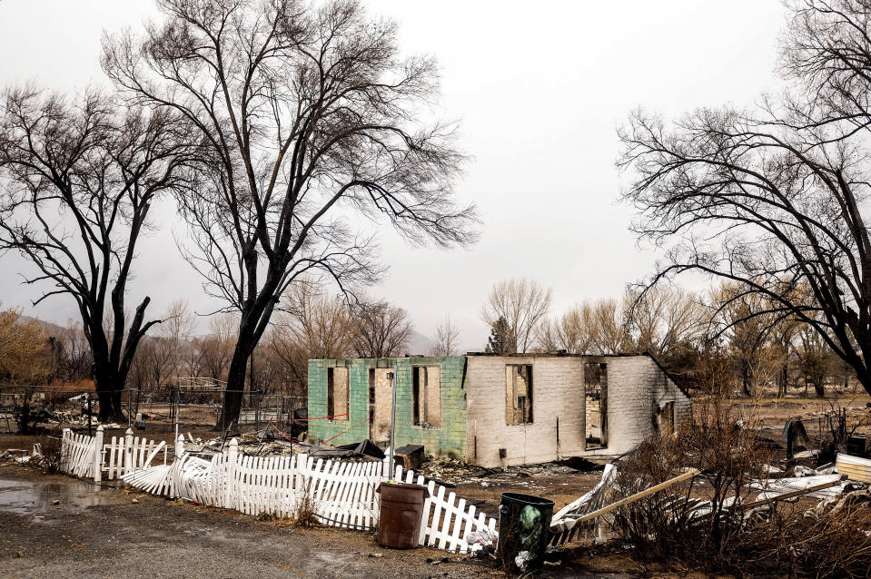 A scorched home rests in a clearing after the Mountain View Fire tore through the Walker community in Mono County, Calif., Wednesday, Nov. 18, 2020. (AP Photo/Noah Berger)