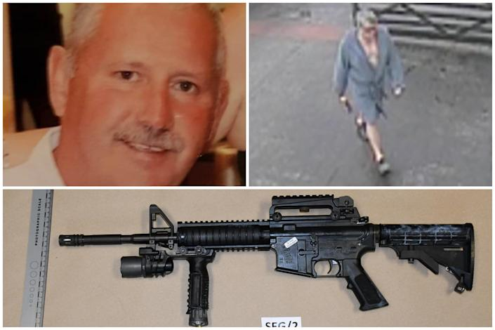Michael O'Leary, top left, was shot by a .22 rifle, below, during an argument with Andrew Jones, top right. (PA/Dyfed Powys Police)