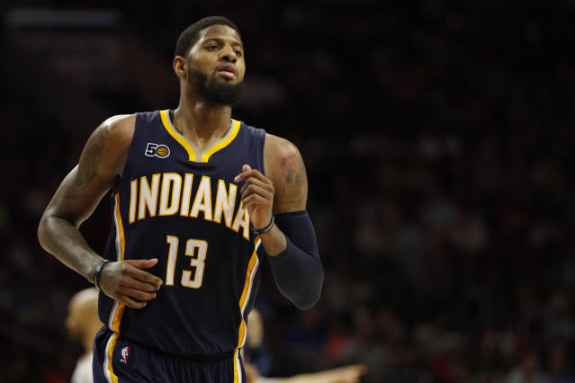 "The <a class=""link rapid-noclick-resp"" href=""/nba/teams/ind/"" data-ylk=""slk:Indiana Pacers"">Indiana Pacers</a> requested a tampering investigation against the <a class=""link rapid-noclick-resp"" href=""/nba/teams/lal/"" data-ylk=""slk:Los Angeles Lakers"">Los Angeles Lakers</a> around <a class=""link rapid-noclick-resp"" href=""/nba/players/4725/"" data-ylk=""slk:Paul George"">Paul George</a>. (AP)"