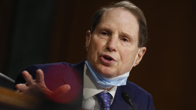 Sen. Ron Wyden, D-Ore., speaks during a Senate Intelligence Committee nomination hearing in May. Andrew Harnik/Pool via AP)