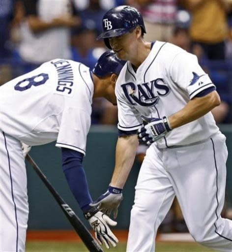 Tampa Bay Rays' Kelly Johnson, right, is congratulated by Desmond Jennings after his home run during the second inning of a baseball game against the Chicago White Sox on Friday, July 5, 2013, in St. Petersburg, Fla. (AP Photo/Mike Carlson)