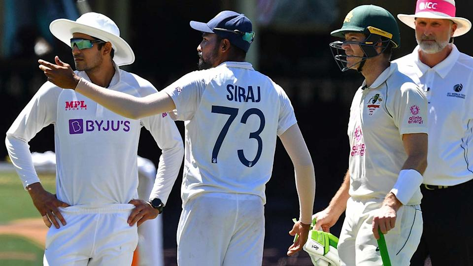 Mohammed Siraj, pictured here complaining to umpires about alleged abuse from the crowd at the SCG.