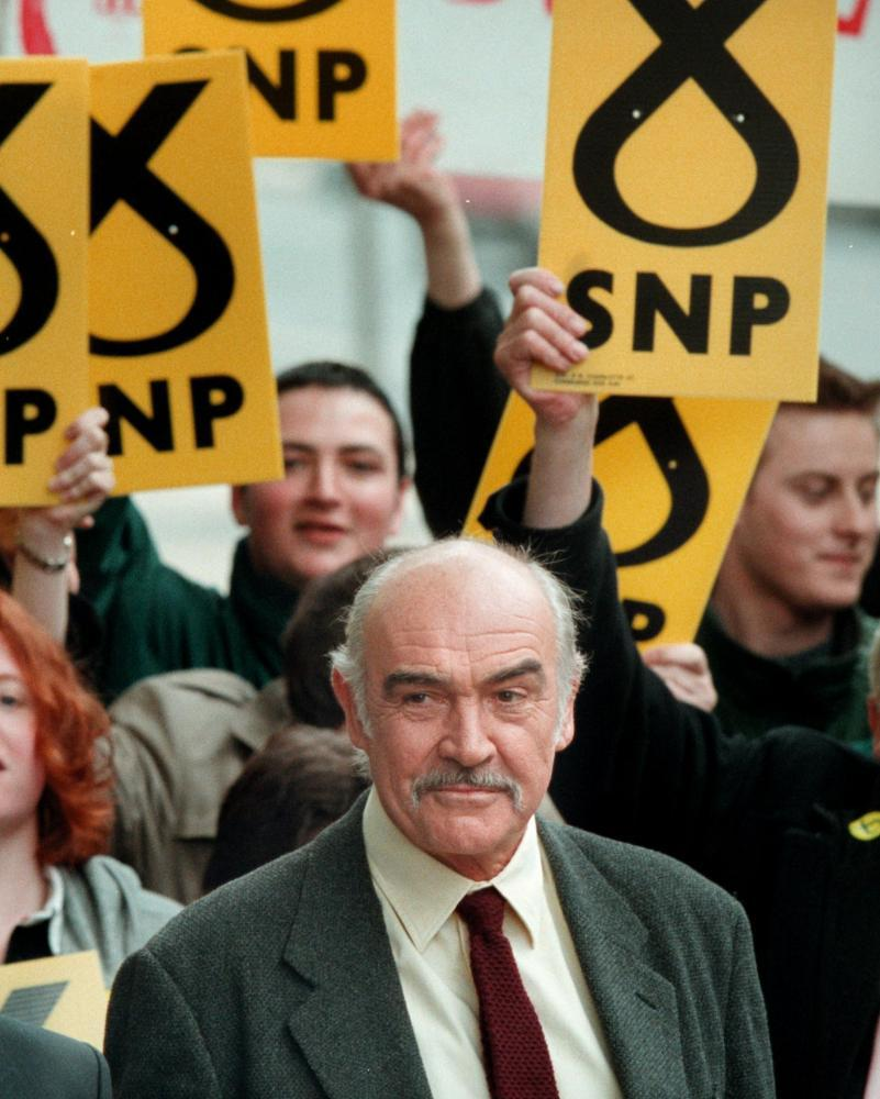 Sean Connery at a Scottish National Party rally in Edinburgh in 1999.