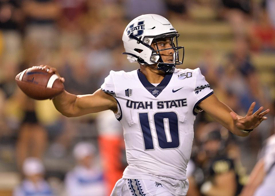 Utah State QB Jordan Love's final college game will be important with for his volatile NFL draft stock. (Photo by Grant Halverson/Getty Images)