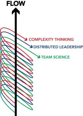 The Triple Helix of Flow™. FOR THE FIRST TIME EVER the scientific fields of Complexity Thinking, Distributed leadership, and Team Science have been combined to create The Triple Helix of Flow™ which highlights the interconnected nature of these three fields and creates the The DNA of Organizations™.