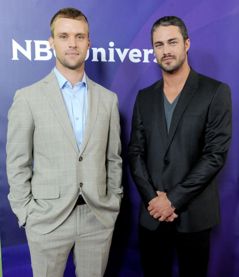 "Jesse Spencer and Taylor Kinney (""Chicago Fire"") arrive at the NBC Universal Summer 2012 Press Tour at The Beverly Hilton Hotel on July 24, 2012 in Beverly Hills, California."